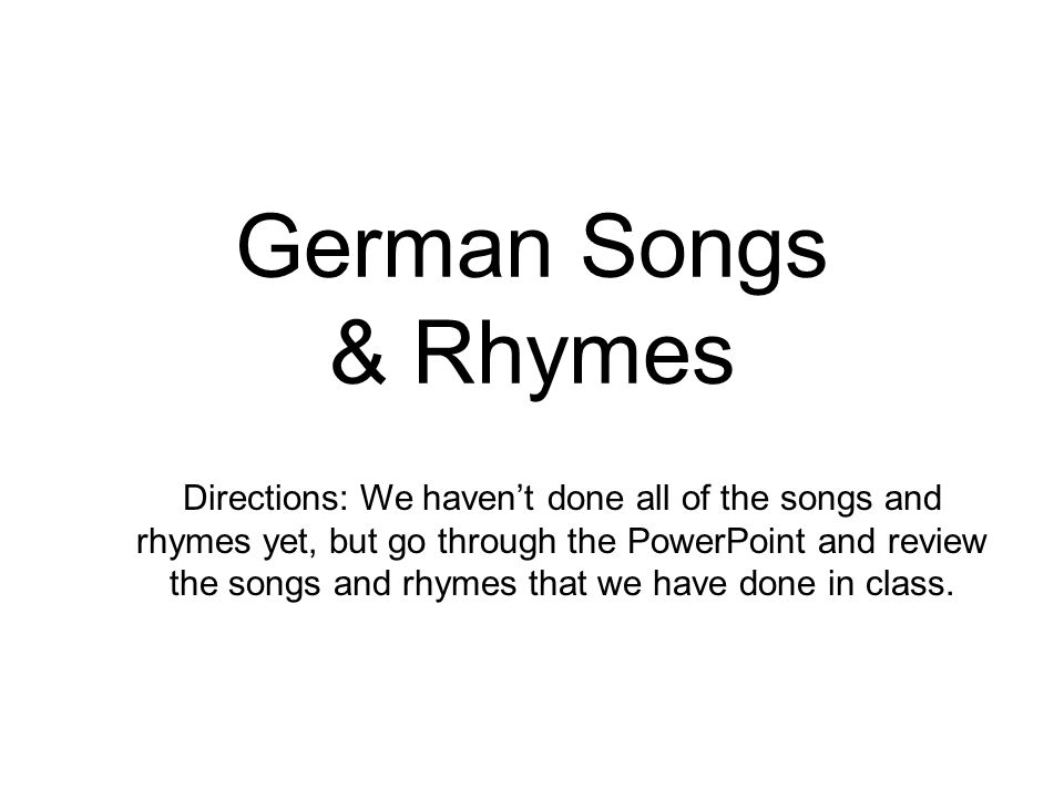 German Songs & Rhymes