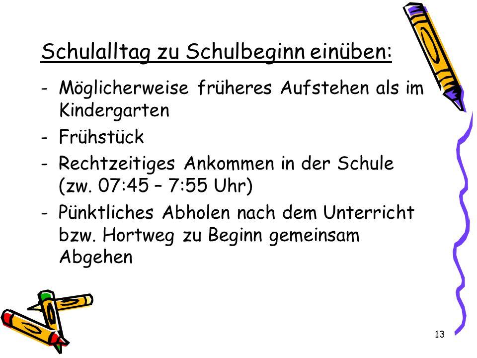 Schulalltag zu Schulbeginn einüben: