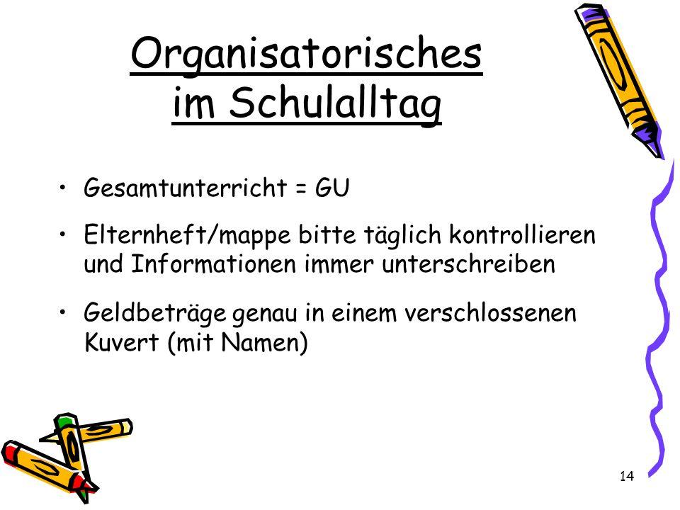 Organisatorisches im Schulalltag