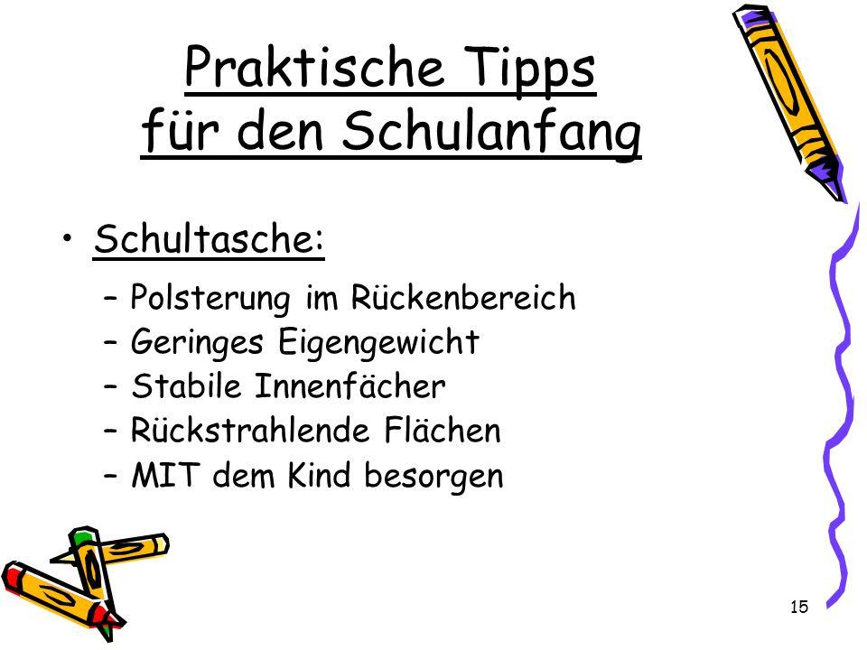 Praktische Tipps für den Schulanfang