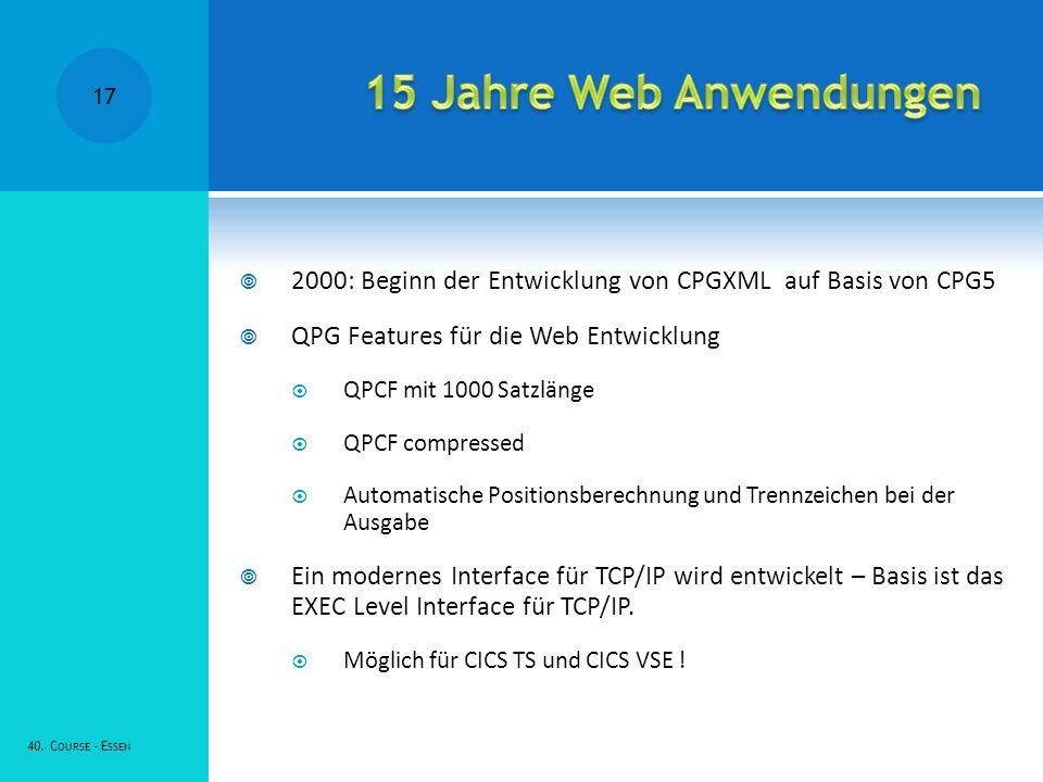 15 Jahre Web Anwendungen 2000: Beginn der Entwicklung von CPGXML auf Basis von CPG5. QPG Features für die Web Entwicklung.