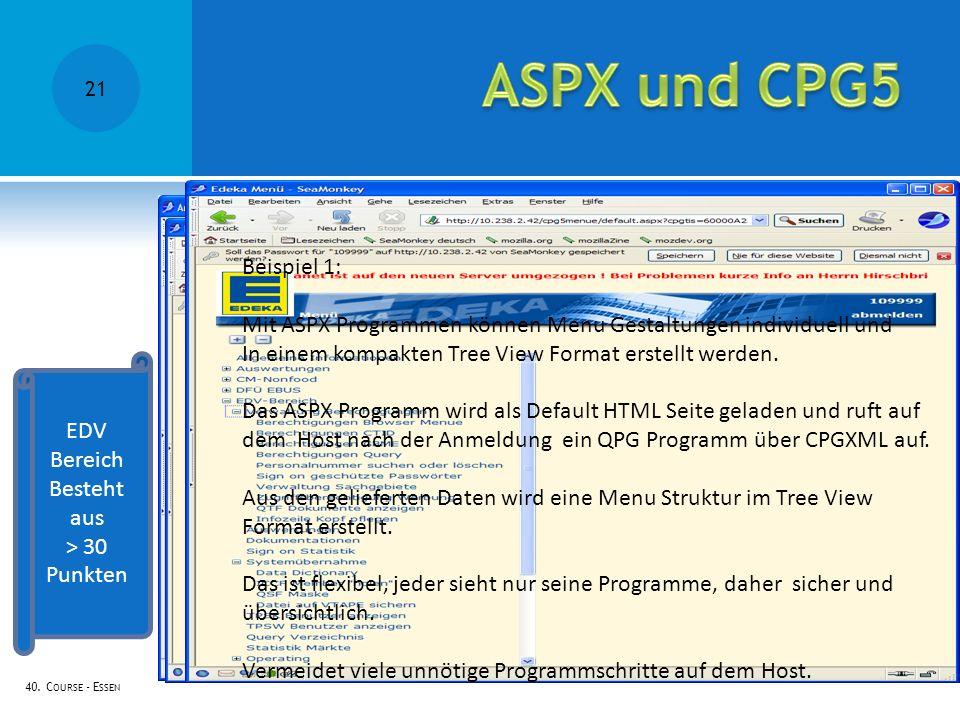 ASPX und CPG5 Beispiel 1: Mit ASPX Programmen können Menu Gestaltungen individuell und. In einem kompakten Tree View Format erstellt werden.
