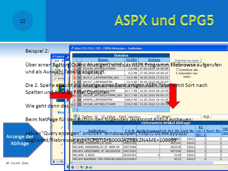ASPX und CPG5 Beispiel 2: Über einen Button (Query Anzeigen) wird das ASPX Programm filebrowse aufgerufen.