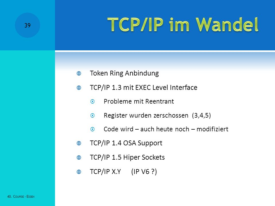TCP/IP im Wandel Token Ring Anbindung