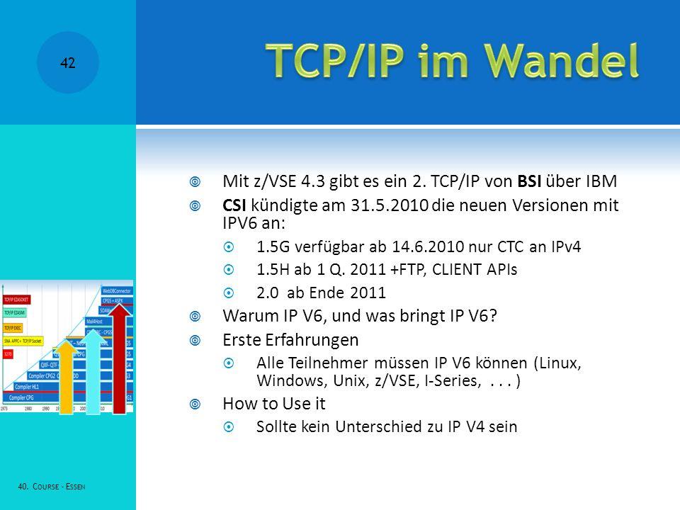 TCP/IP im Wandel Mit z/VSE 4.3 gibt es ein 2. TCP/IP von BSI über IBM