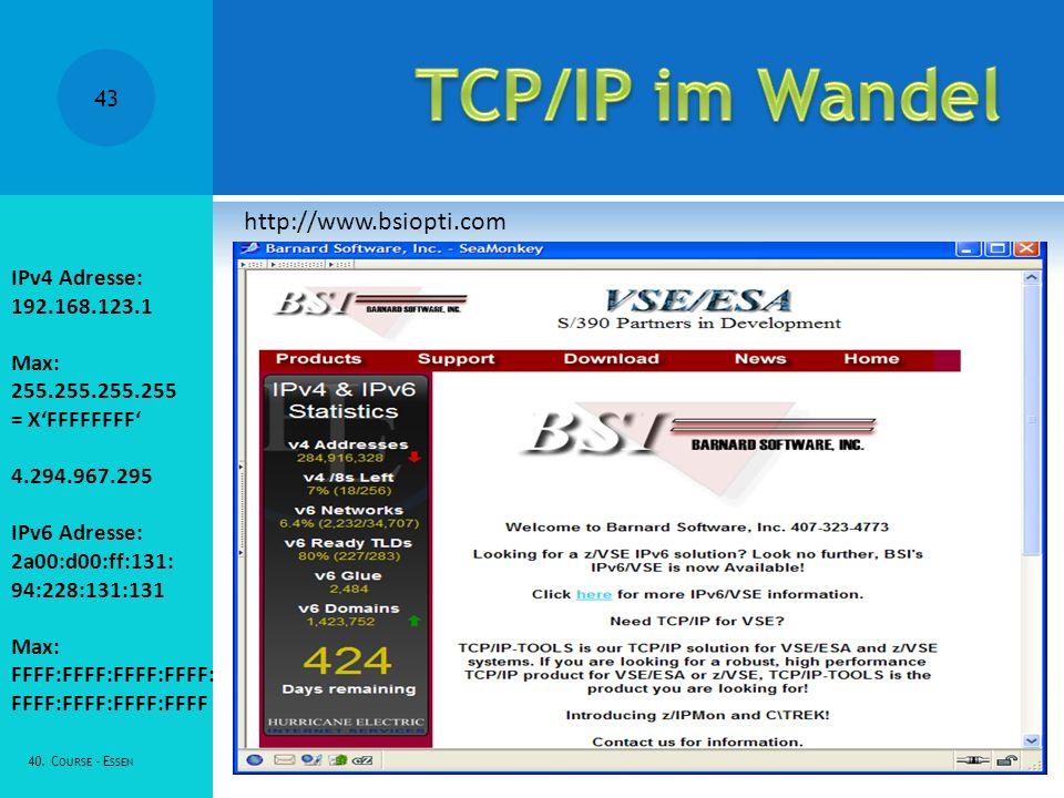 TCP/IP im Wandel http://www.bsiopti.com IPv4 Adresse: 192.168.123.1