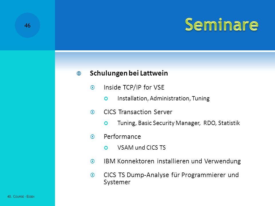 Seminare Schulungen bei Lattwein Inside TCP/IP for VSE