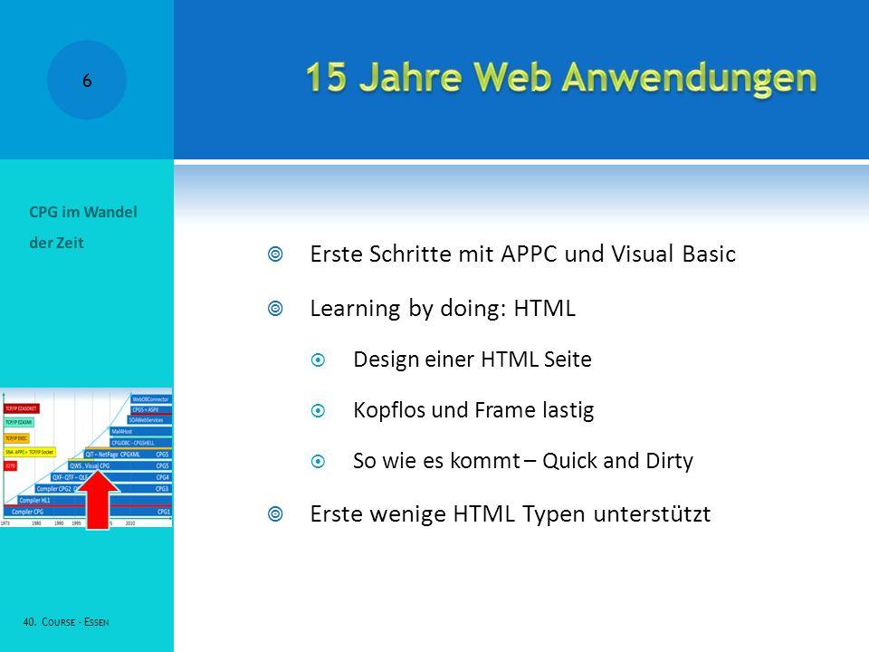 15 Jahre Web Anwendungen Erste Schritte mit APPC und Visual Basic