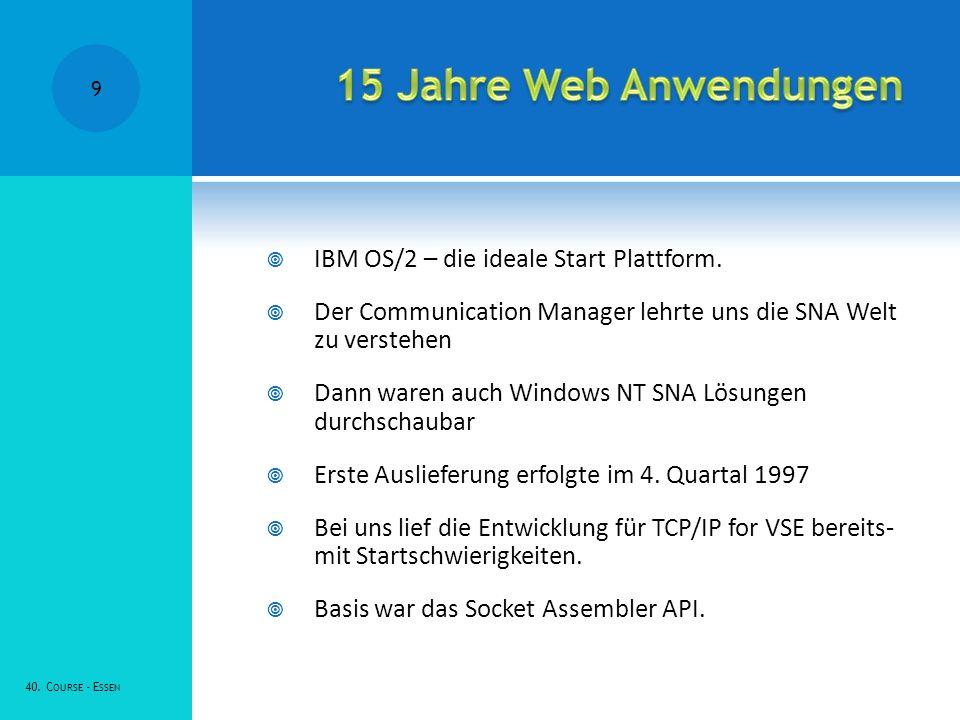 15 Jahre Web Anwendungen IBM OS/2 – die ideale Start Plattform.