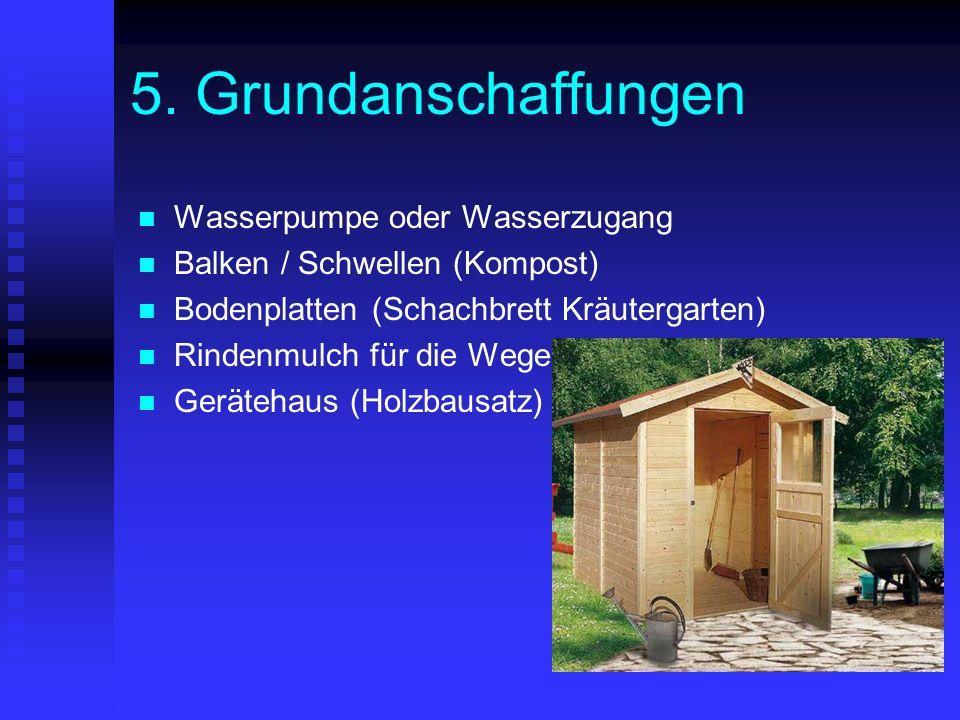 5. Grundanschaffungen Wasserpumpe oder Wasserzugang