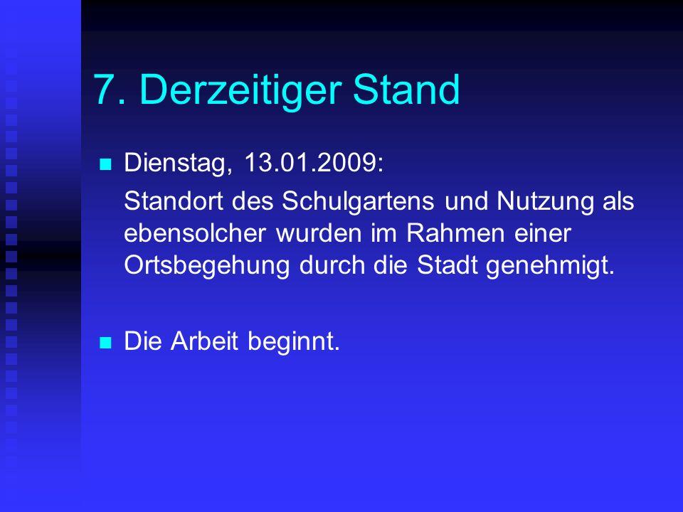 7. Derzeitiger Stand Dienstag, 13.01.2009: