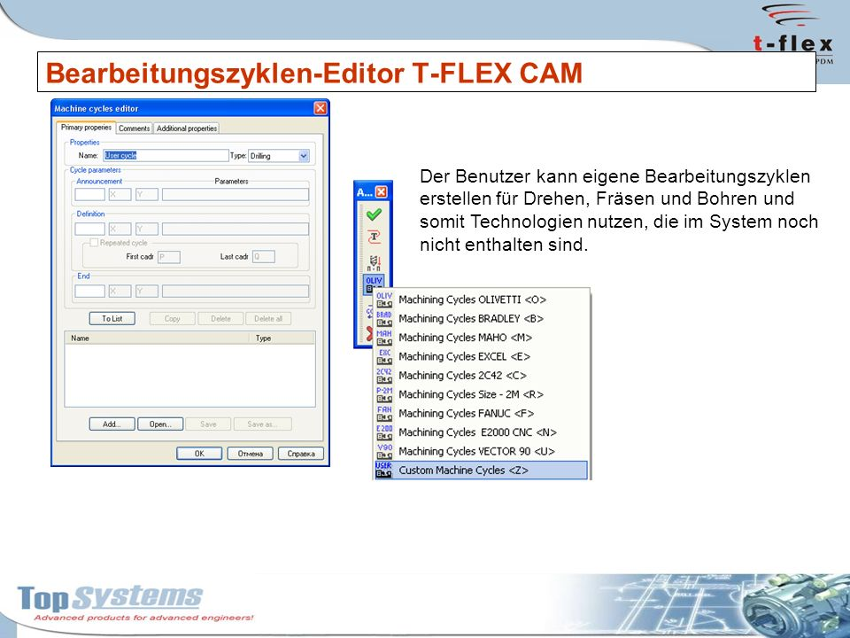 Bearbeitungszyklen-Editor T-FLEX CAM