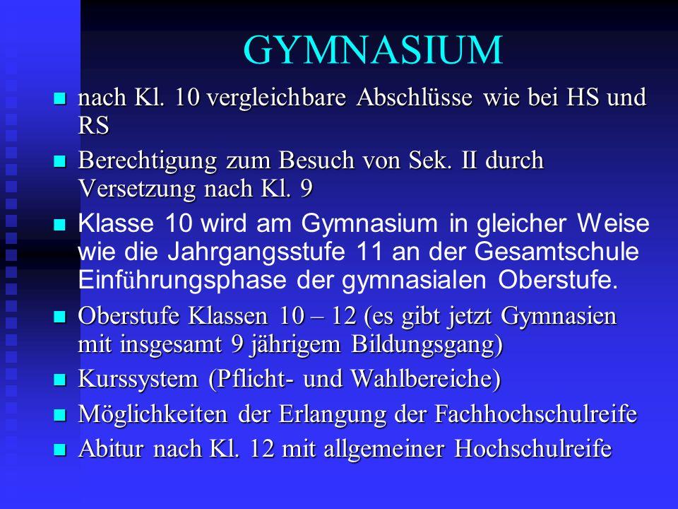 GYMNASIUM nach Kl. 10 vergleichbare Abschlüsse wie bei HS und RS