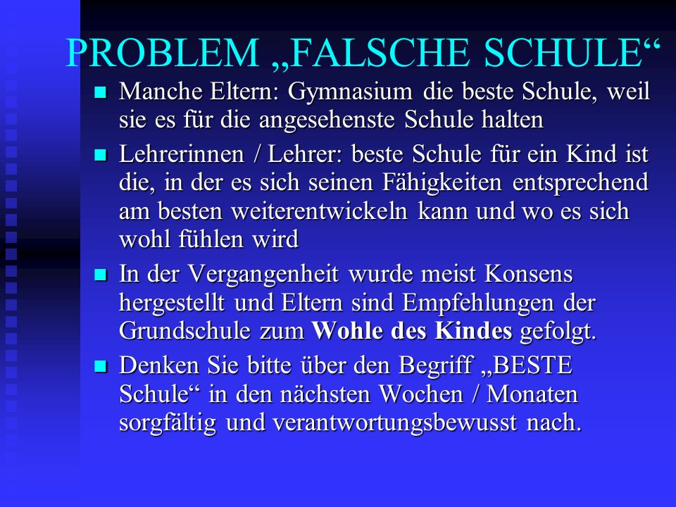 """PROBLEM """"FALSCHE SCHULE"""