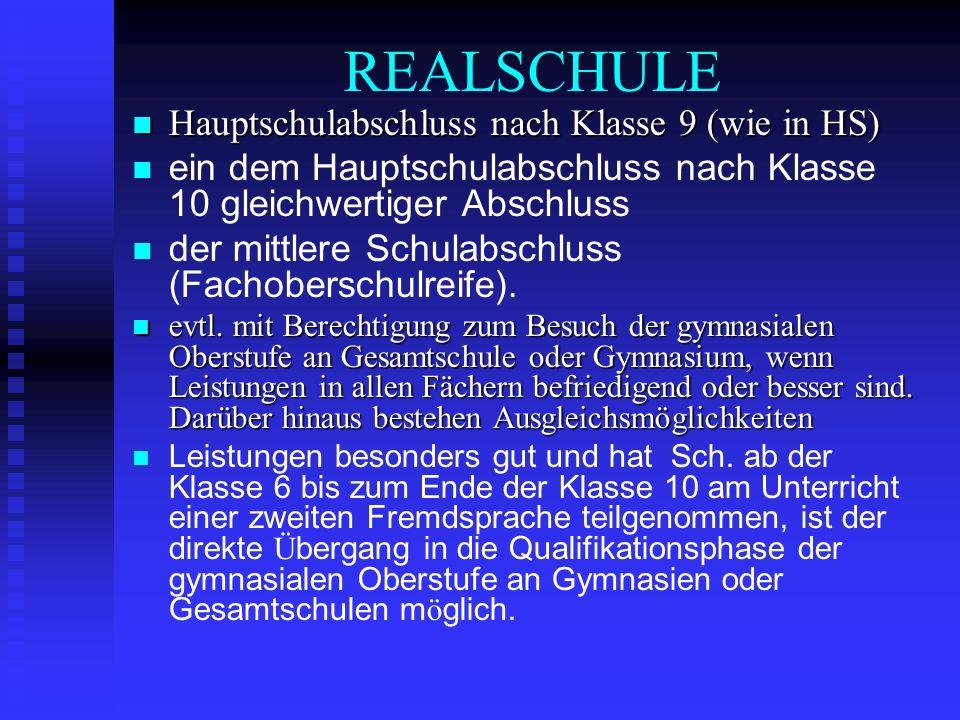 REALSCHULE Hauptschulabschluss nach Klasse 9 (wie in HS)
