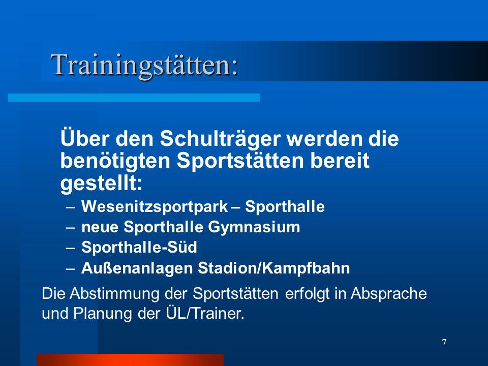 Trainingstätten: Über den Schulträger werden die benötigten Sportstätten bereit gestellt: Wesenitzsportpark – Sporthalle.