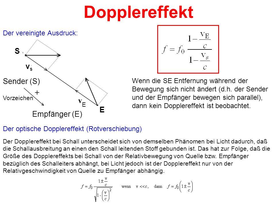 Dopplereffekt S vs Sender (S) E Empfänger (E) Der vereinigte Ausdruck: