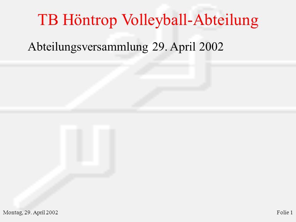 Abteilungsversammlung 29. April 2002