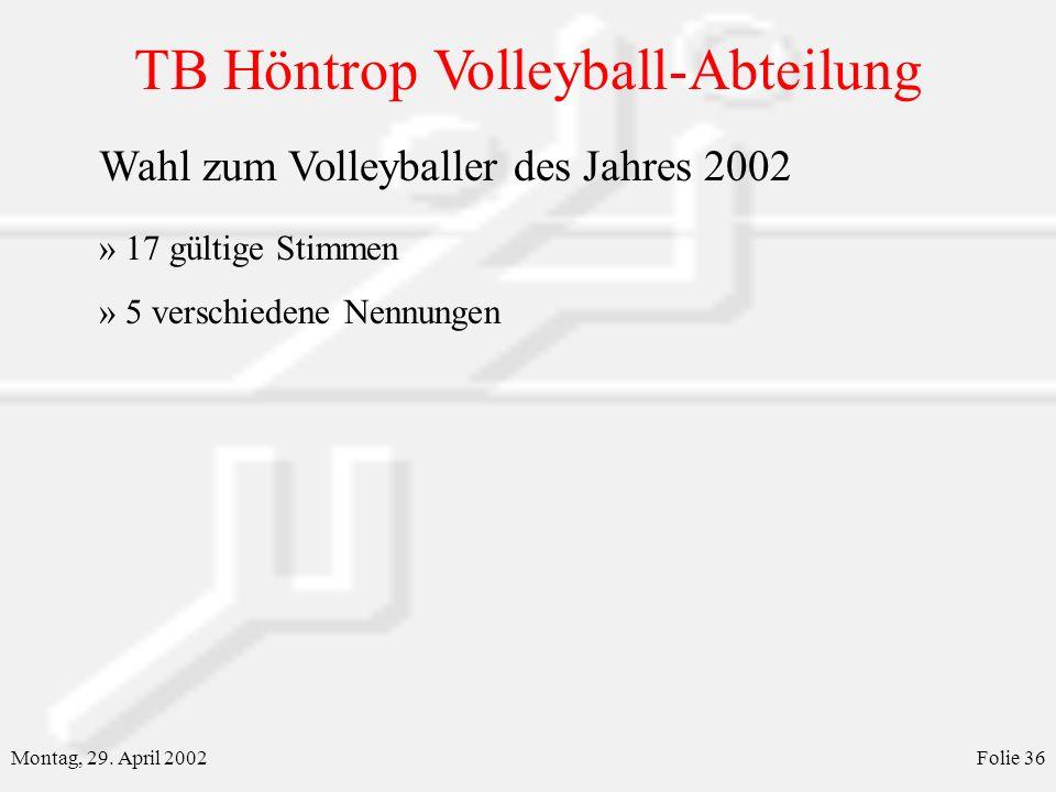 Wahl zum Volleyballer des Jahres 2002