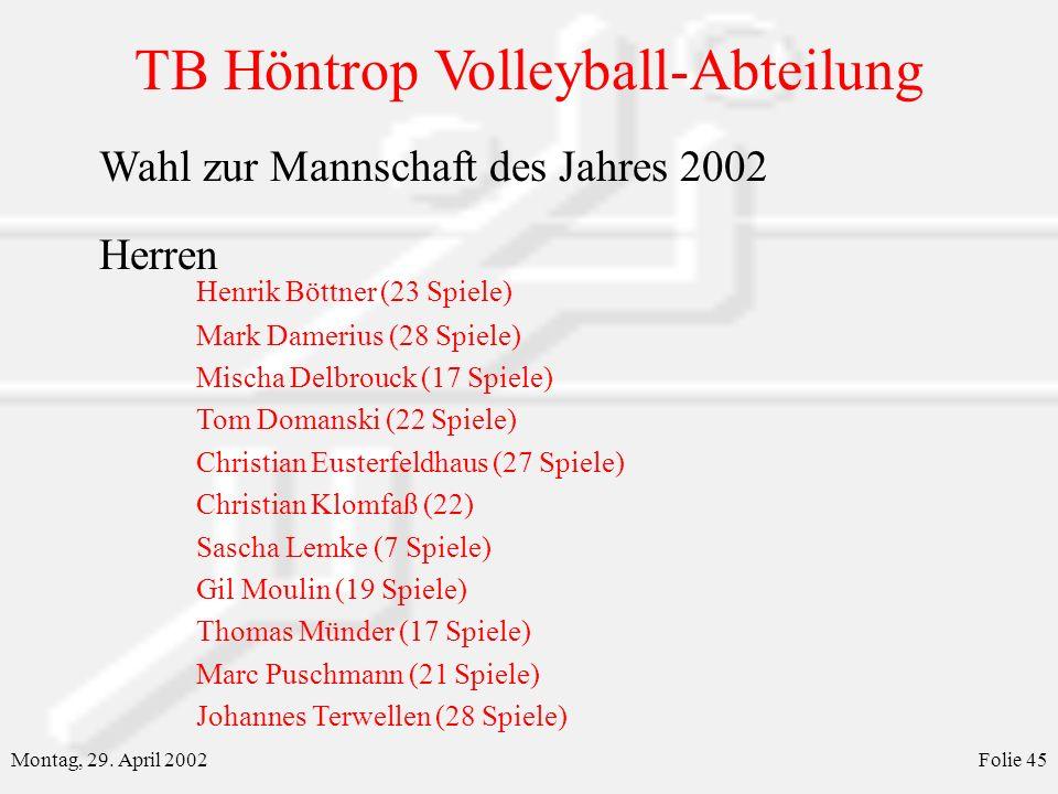 Wahl zur Mannschaft des Jahres 2002