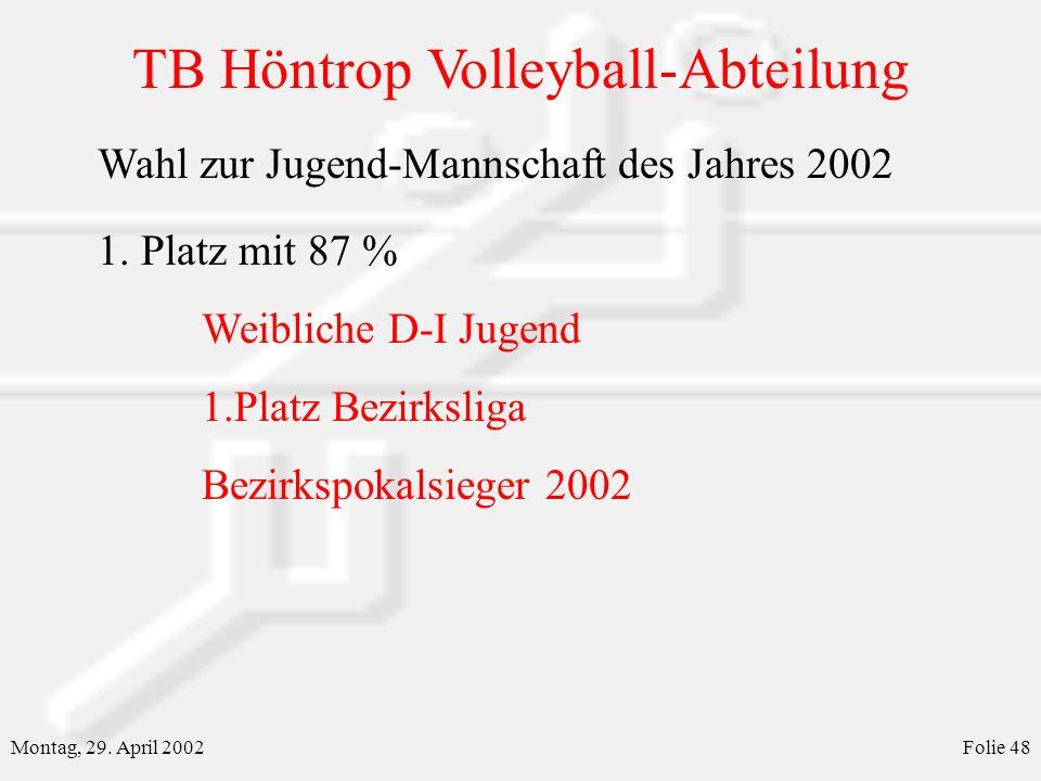 Wahl zur Jugend-Mannschaft des Jahres 2002