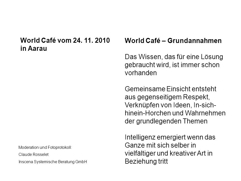 World Café – Grundannahmen