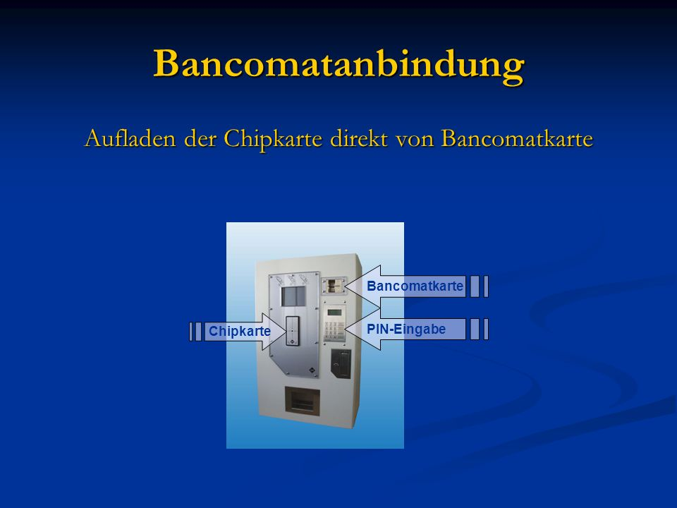 Aufladen der Chipkarte direkt von Bancomatkarte