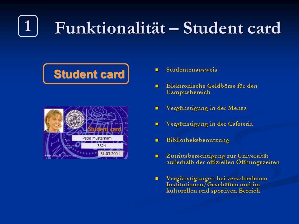 Funktionalität – Student card