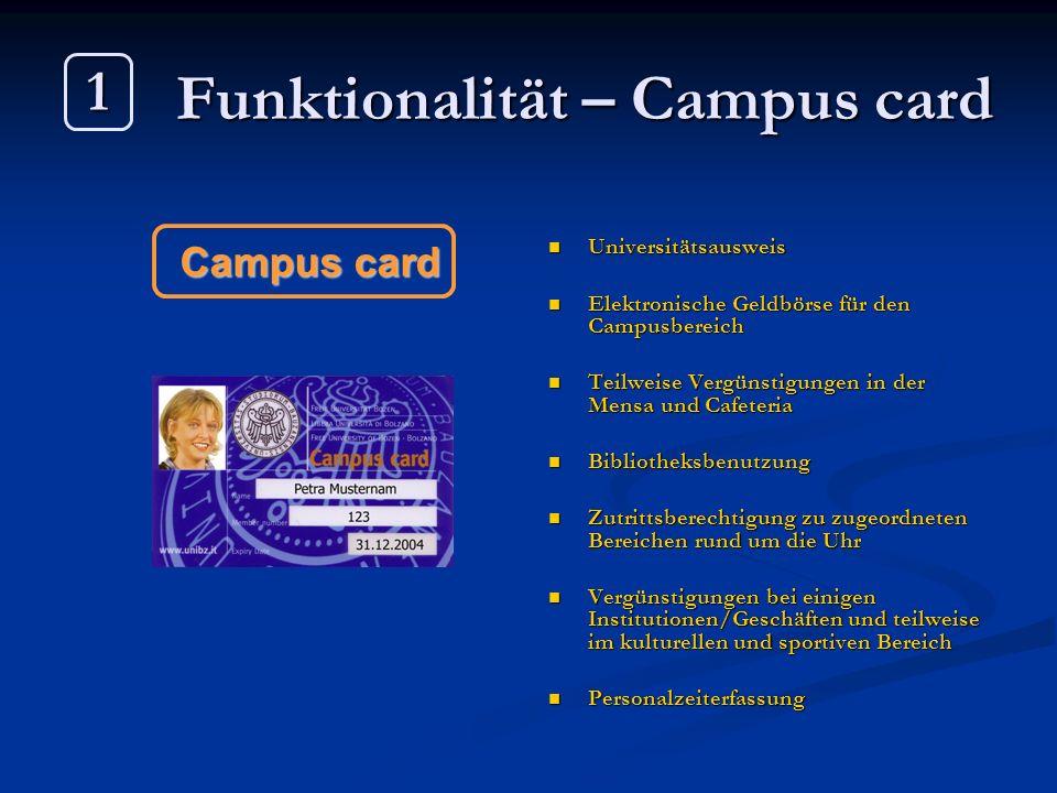 Funktionalität – Campus card