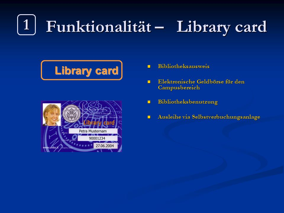 Funktionalität – Library card