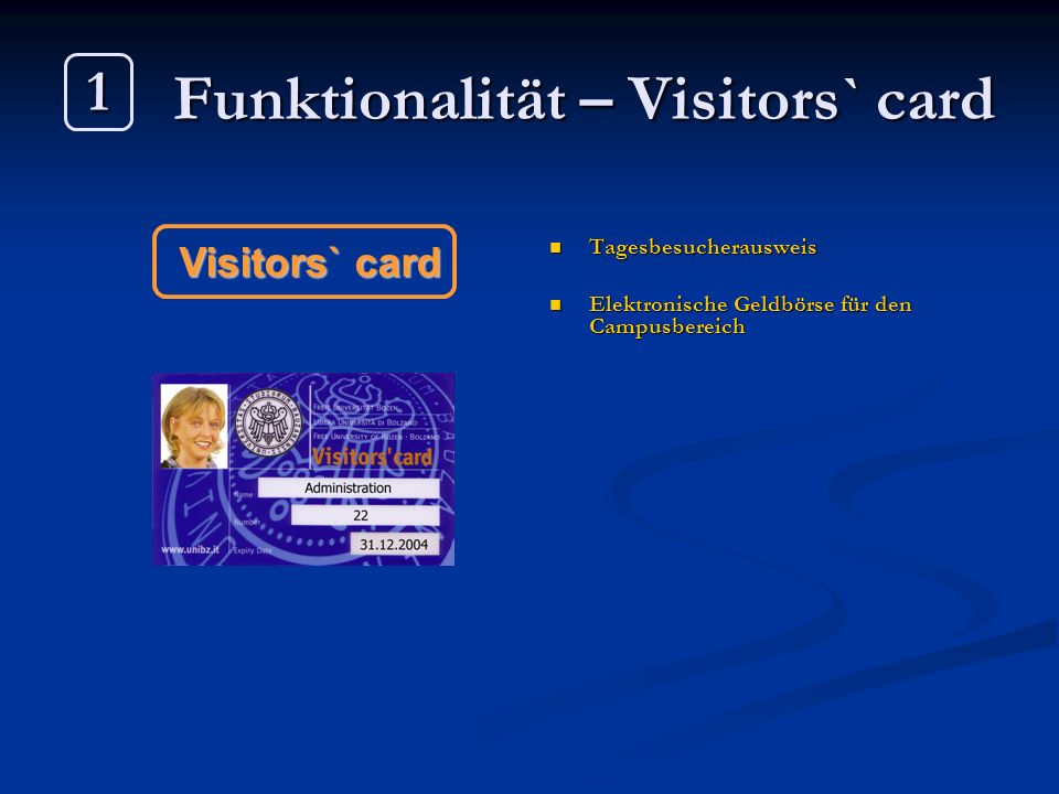 Funktionalität – Visitors` card