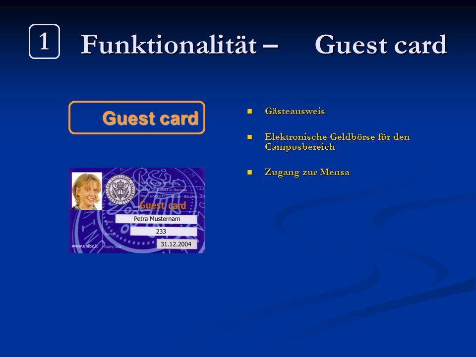 Funktionalität – Guest card