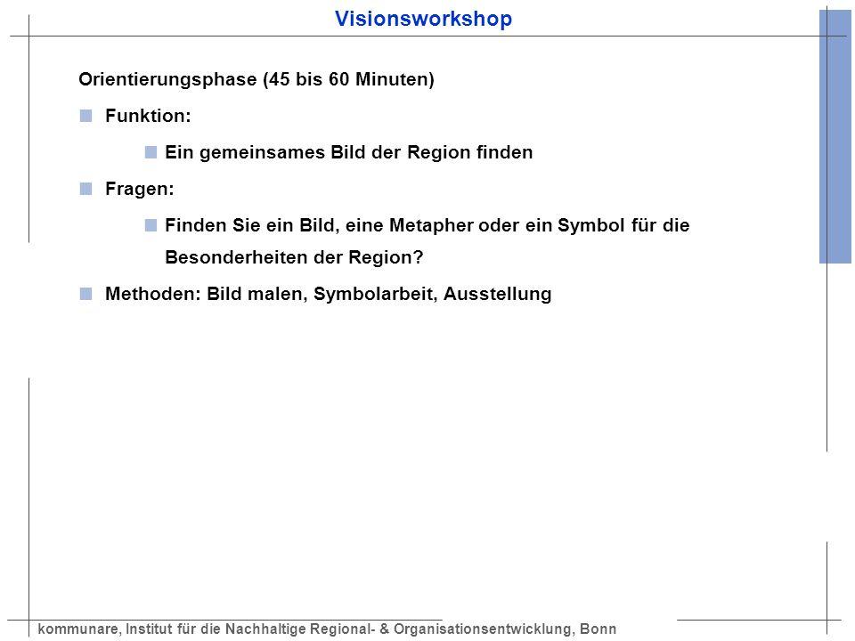 Visionsworkshop Orientierungsphase (45 bis 60 Minuten) Funktion: