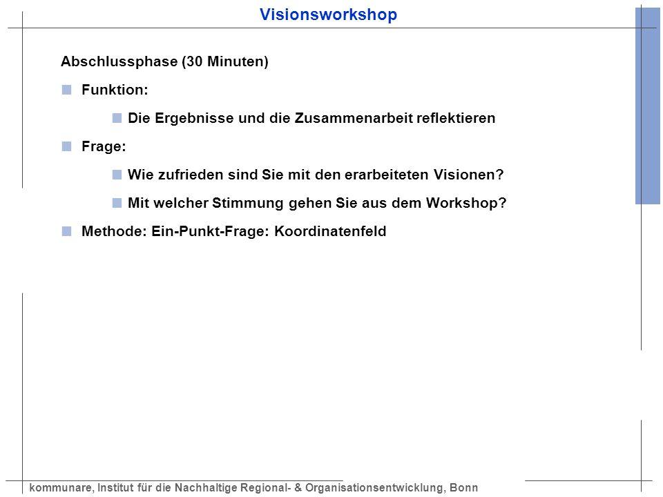 Visionsworkshop Abschlussphase (30 Minuten) Funktion: