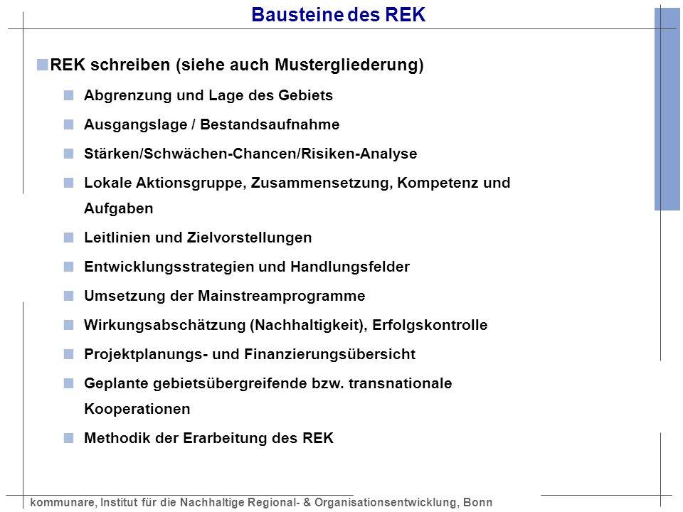 Bausteine des REK REK schreiben (siehe auch Mustergliederung)