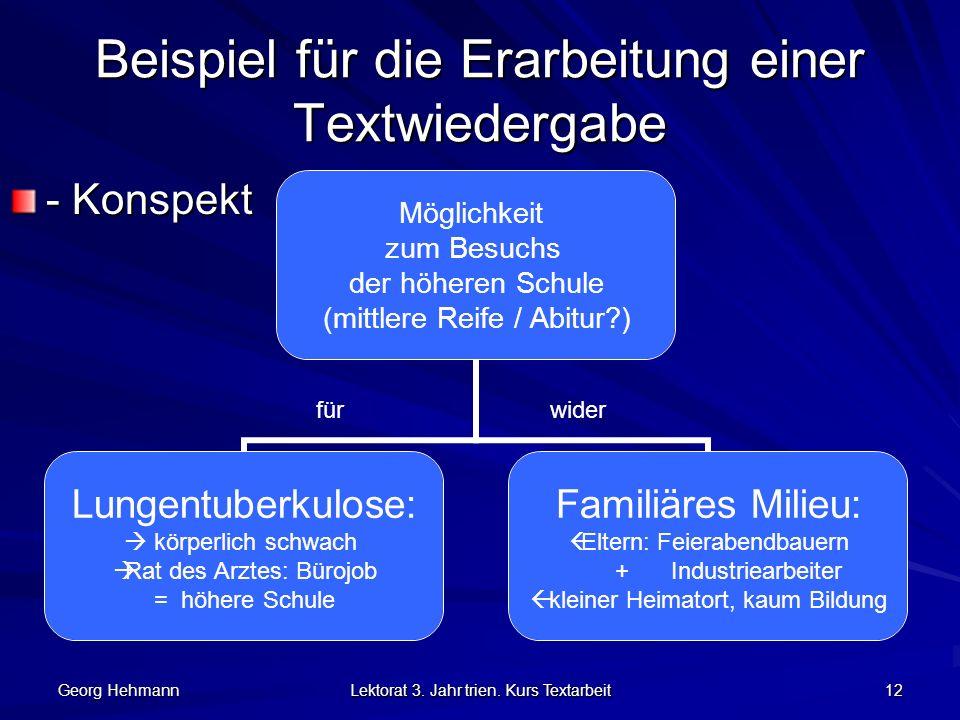 Beispiel für die Erarbeitung einer Textwiedergabe
