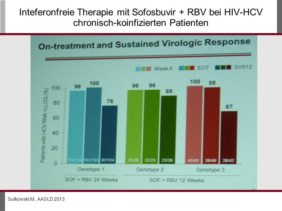 Inteferonfreie Therapie mit Sofosbuvir + RBV bei HIV-HCV chronisch-koinfizierten Patienten