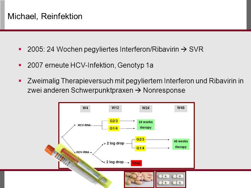 Michael, Reinfektion 2005: 24 Wochen pegyliertes Interferon/Ribavirin  SVR. 2007 erneute HCV-Infektion, Genotyp 1a.