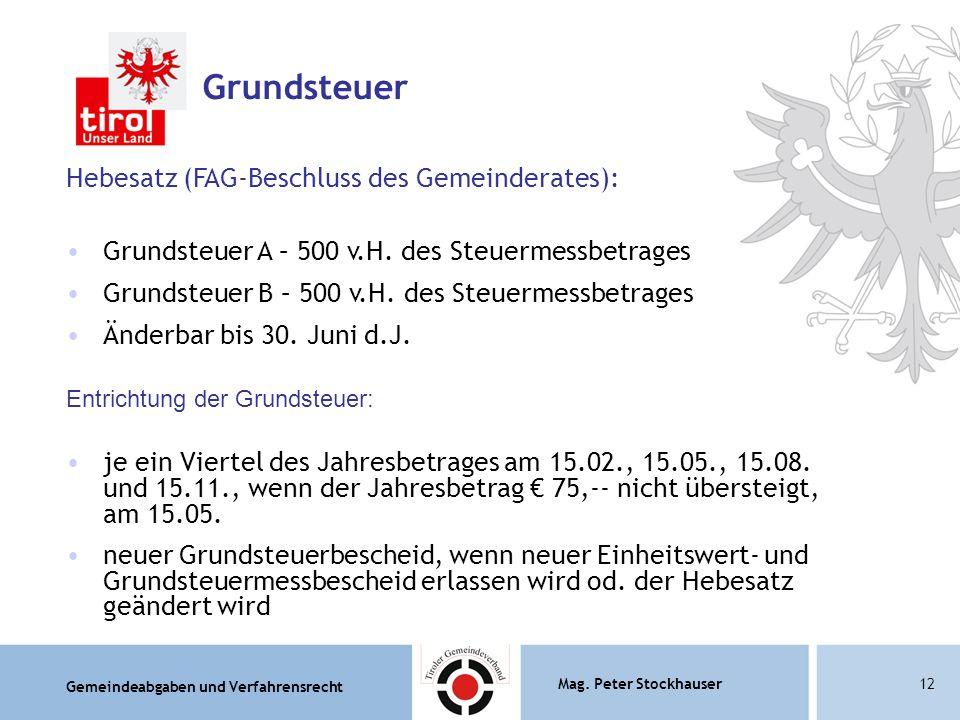 Grundsteuer Hebesatz (FAG-Beschluss des Gemeinderates):