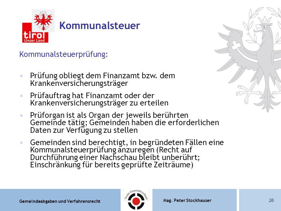 Kommunalsteuer Kommunalsteuerprüfung: