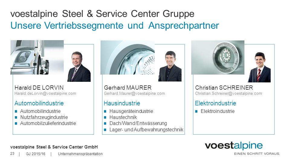 voestalpine Steel & Service Center Gruppe Unsere Vertriebssegmente und Ansprechpartner