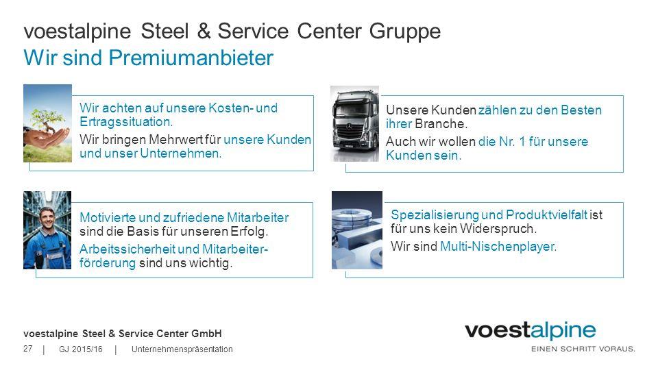 voestalpine Steel & Service Center Gruppe Wir sind Premiumanbieter