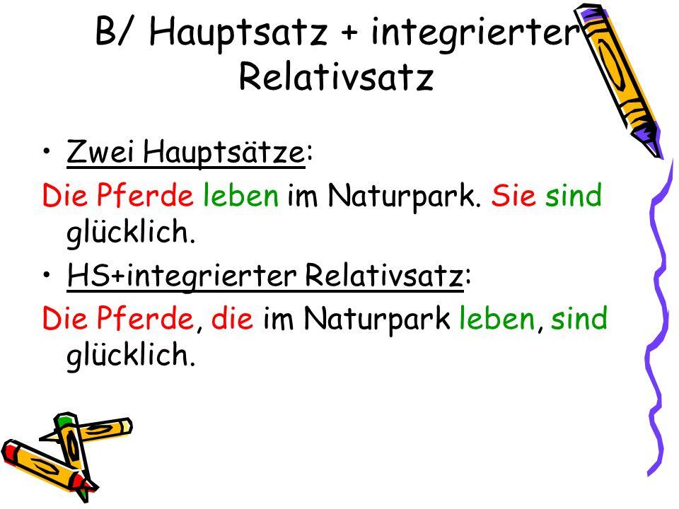 B/ Hauptsatz + integrierter Relativsatz