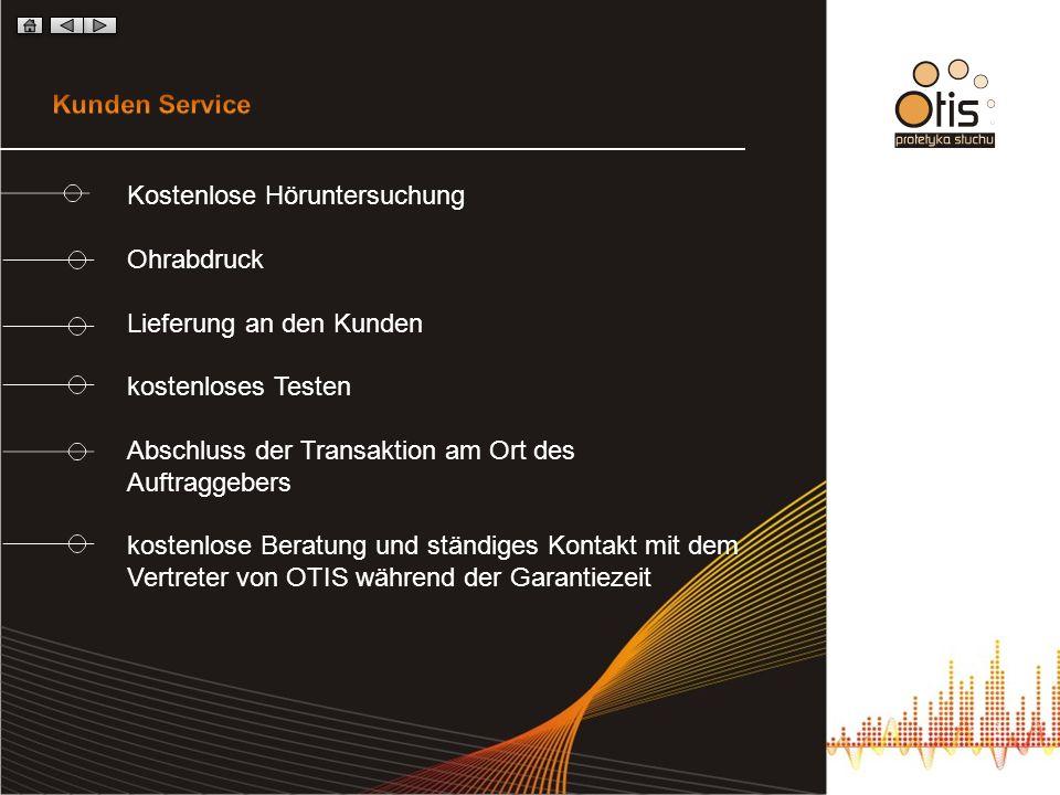 Kunden Service Kostenlose Höruntersuchung. Ohrabdruck. Lieferung an den Kunden. kostenloses Testen.