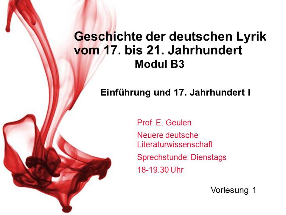 Geschichte der deutschen Lyrik vom 17. bis 21. Jahrhundert