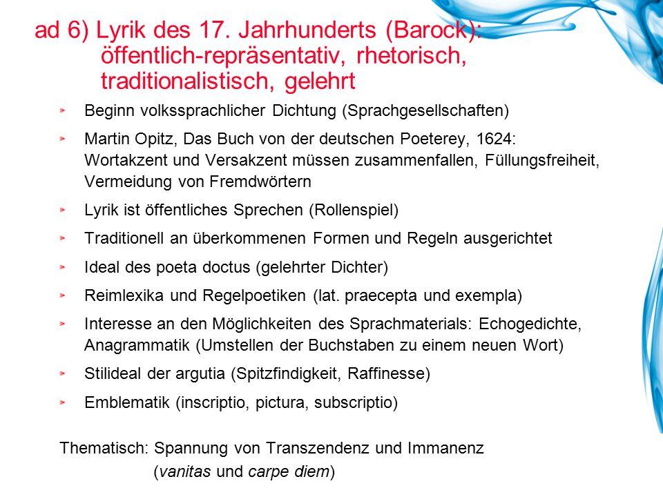 ad 6) Lyrik des 17. Jahrhunderts (Barock):