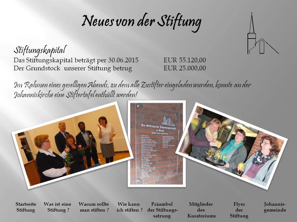 Neues von der Stiftung Stiftungskapital Das Stiftungskapital beträgt per 30.06.2015 EUR 55.120,00.