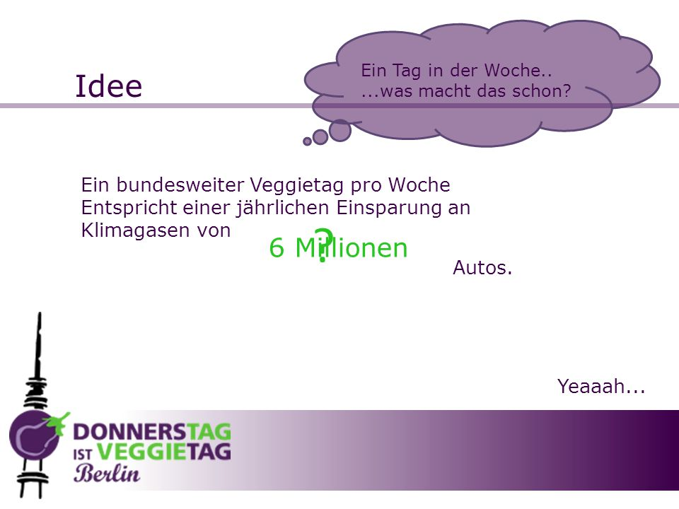Idee 6 Millionen Ein bundesweiter Veggietag pro Woche
