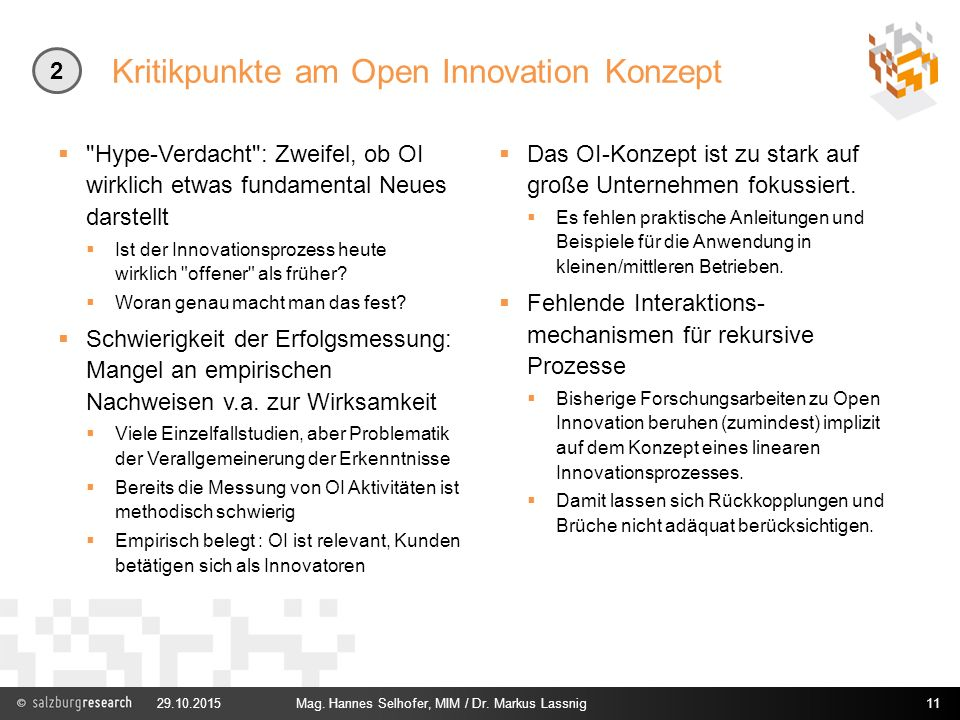 Kritikpunkte am Open Innovation Konzept