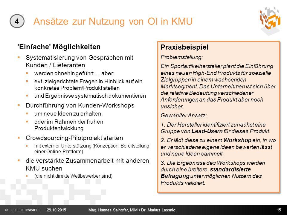 Ansätze zur Nutzung von OI in KMU